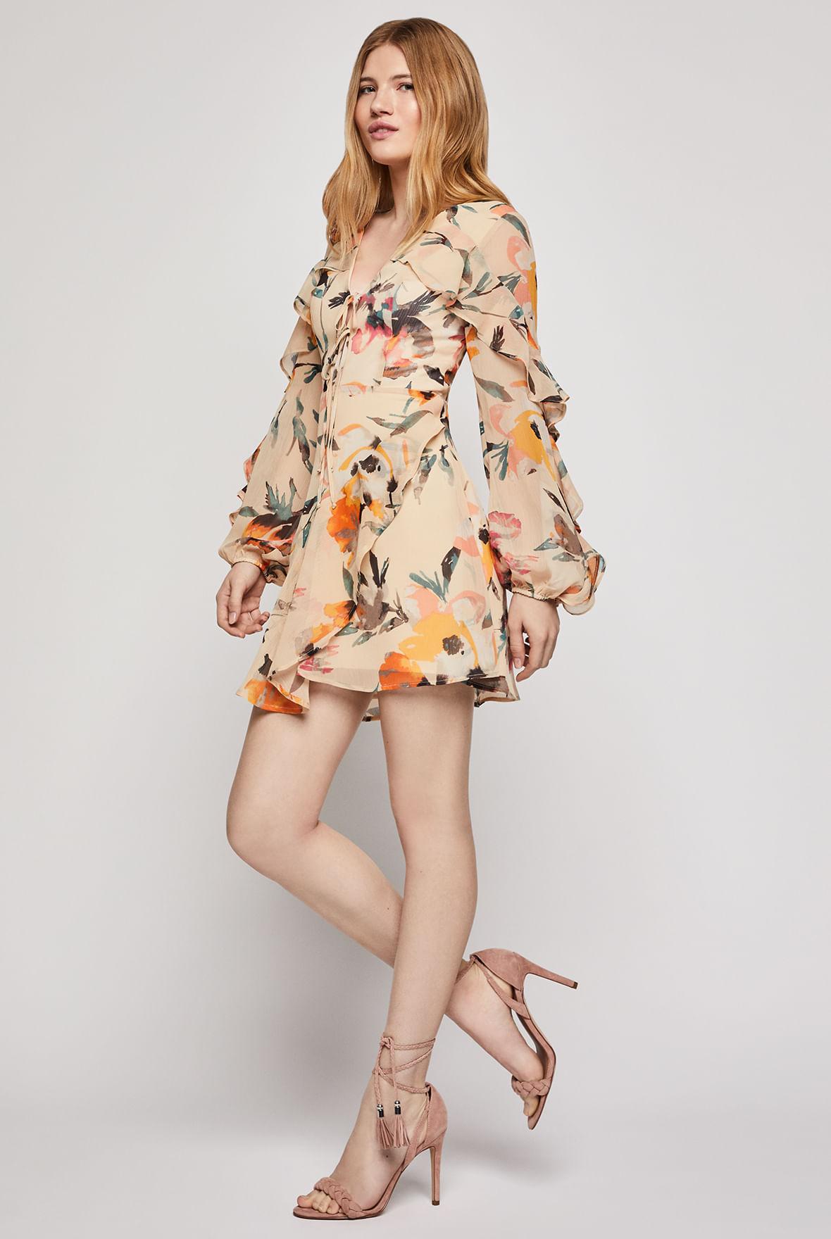 Vestido Con Olanes En Abstract Florals Bcbgeneration
